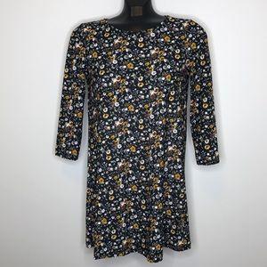 Mango basics black mustard floral keyhole dress 2